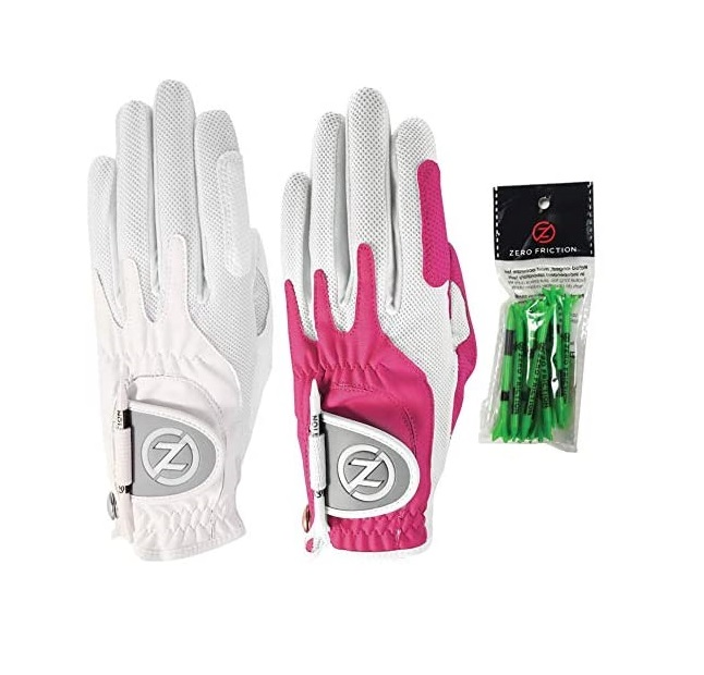 Zero Friction Ladies Compression-Fit Synthetic Golf Glove 2 Pack, Includes free tee pack, Universal-Fit